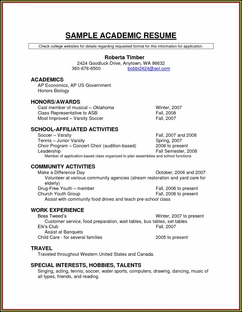 Scholarship Resume Templates Samples