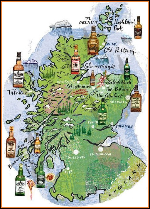 Scottish Whisky Distilleries Map