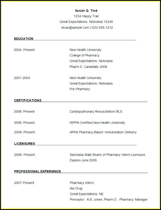 Simple Resume Format Word 2007