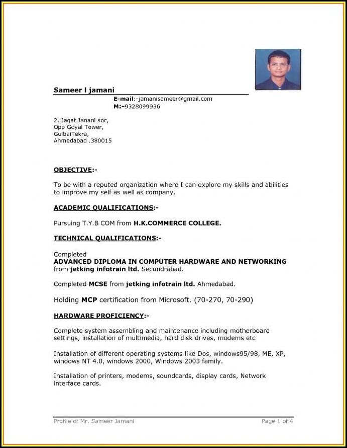 Simple Resume Format Word Free Download