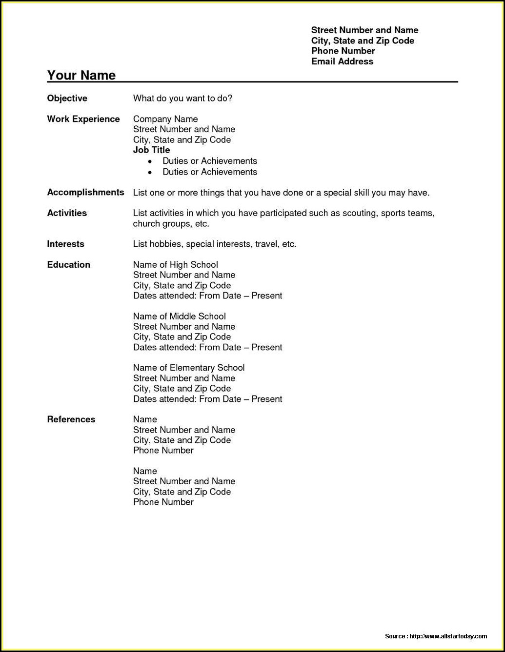 Simple Resume Pdf Format Free Download