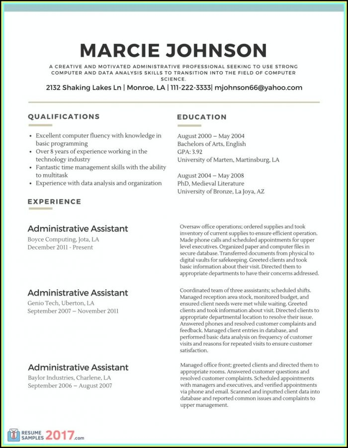 Simple Resume Samples 2017