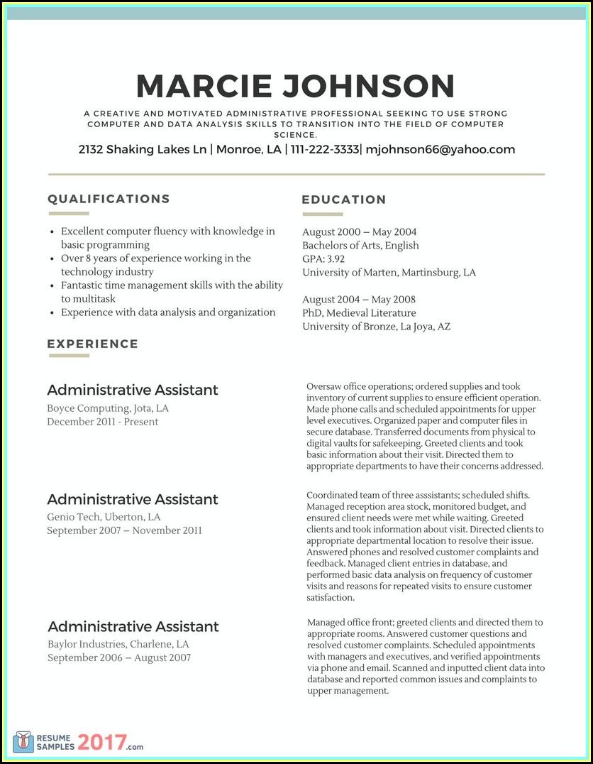 Simple Resume Samples 2017