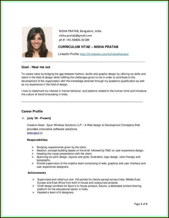 Simple Resume Samples For Fresher Air Hostess