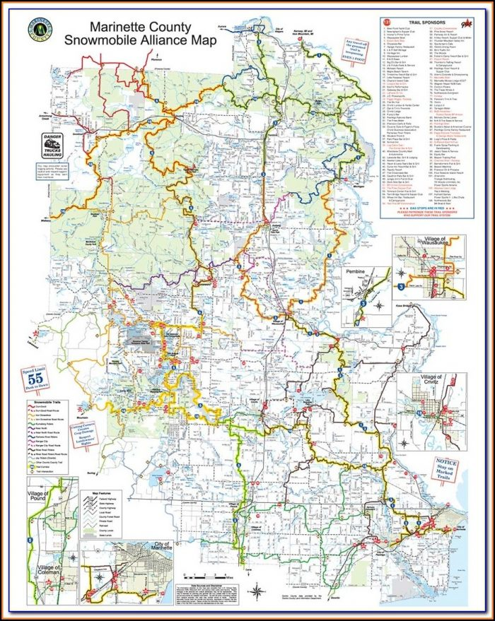 Snowmobile Trail Map Cable Wi