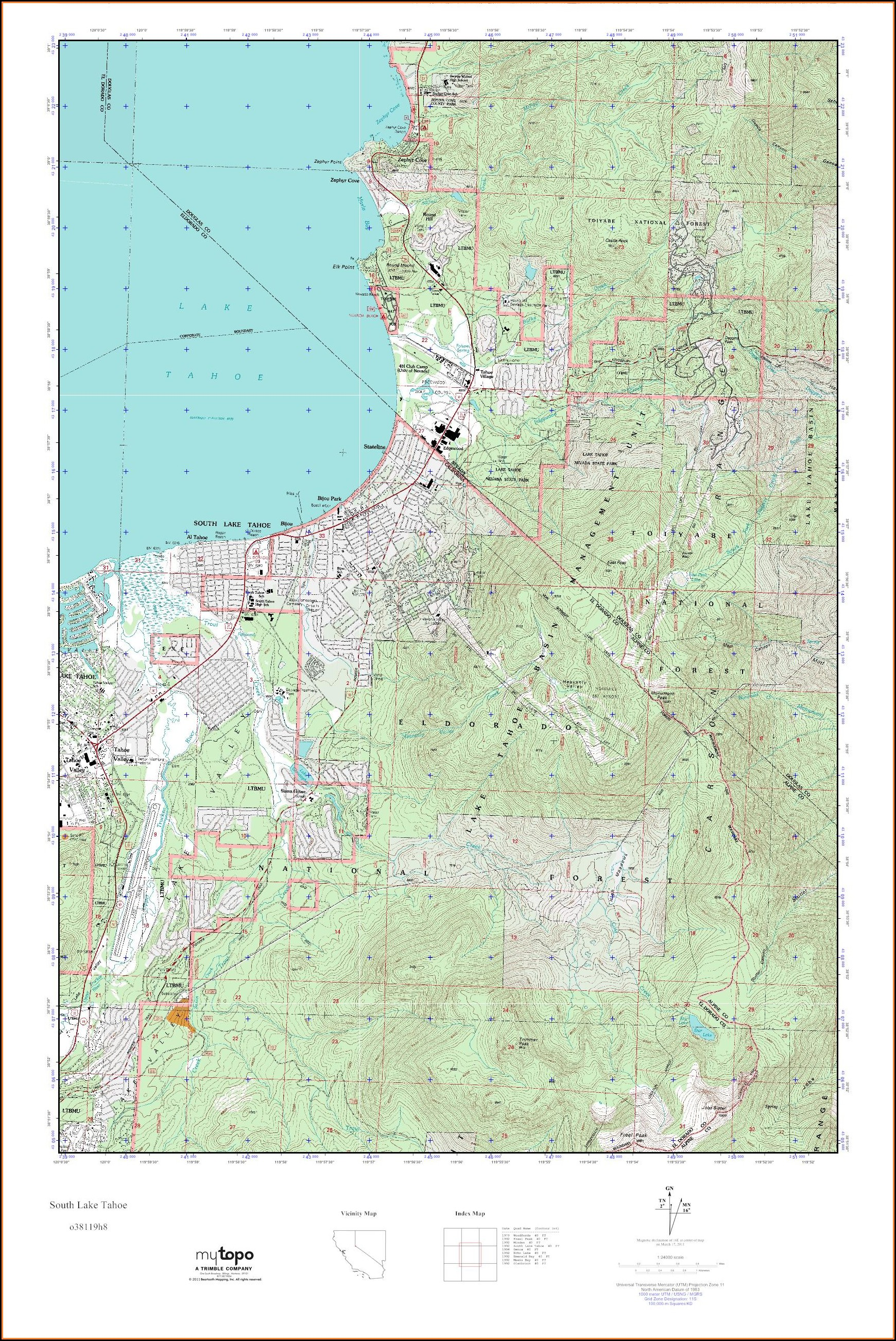 South Lake Tahoe Topo Map