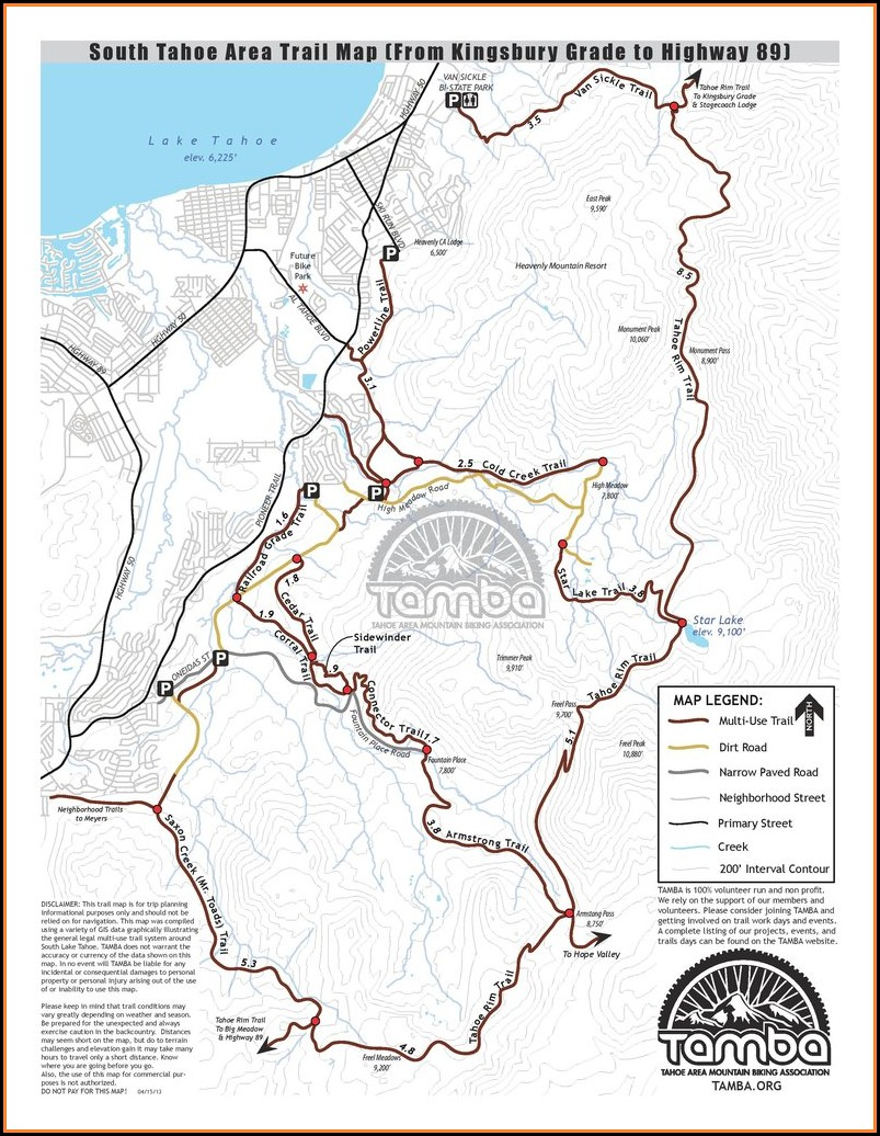 South Lake Tahoe Trail Map