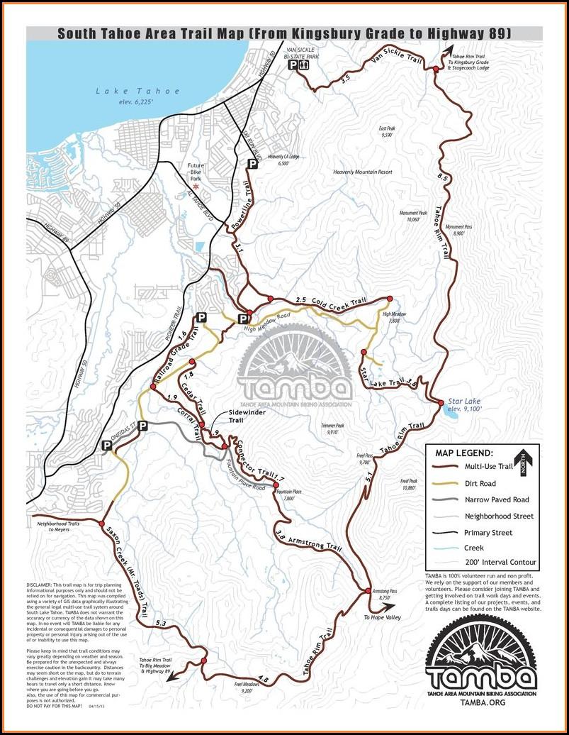 South Lake Tahoe Trail Map
