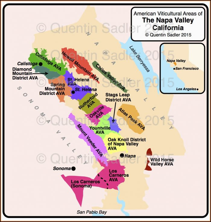 St Helena California Map Napa Valley