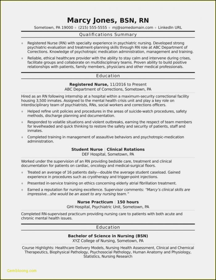 Staff Nurse Resume Sample Pdf