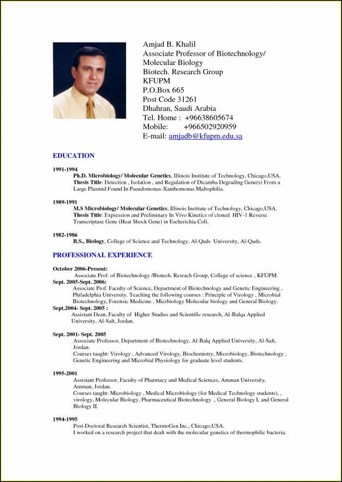 Standard Resume Format Doc