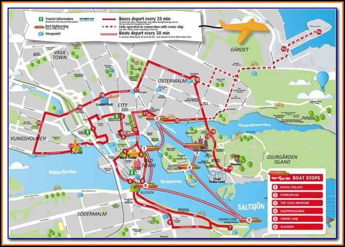 Stockholm Hop On Hop Off Boat Route Map
