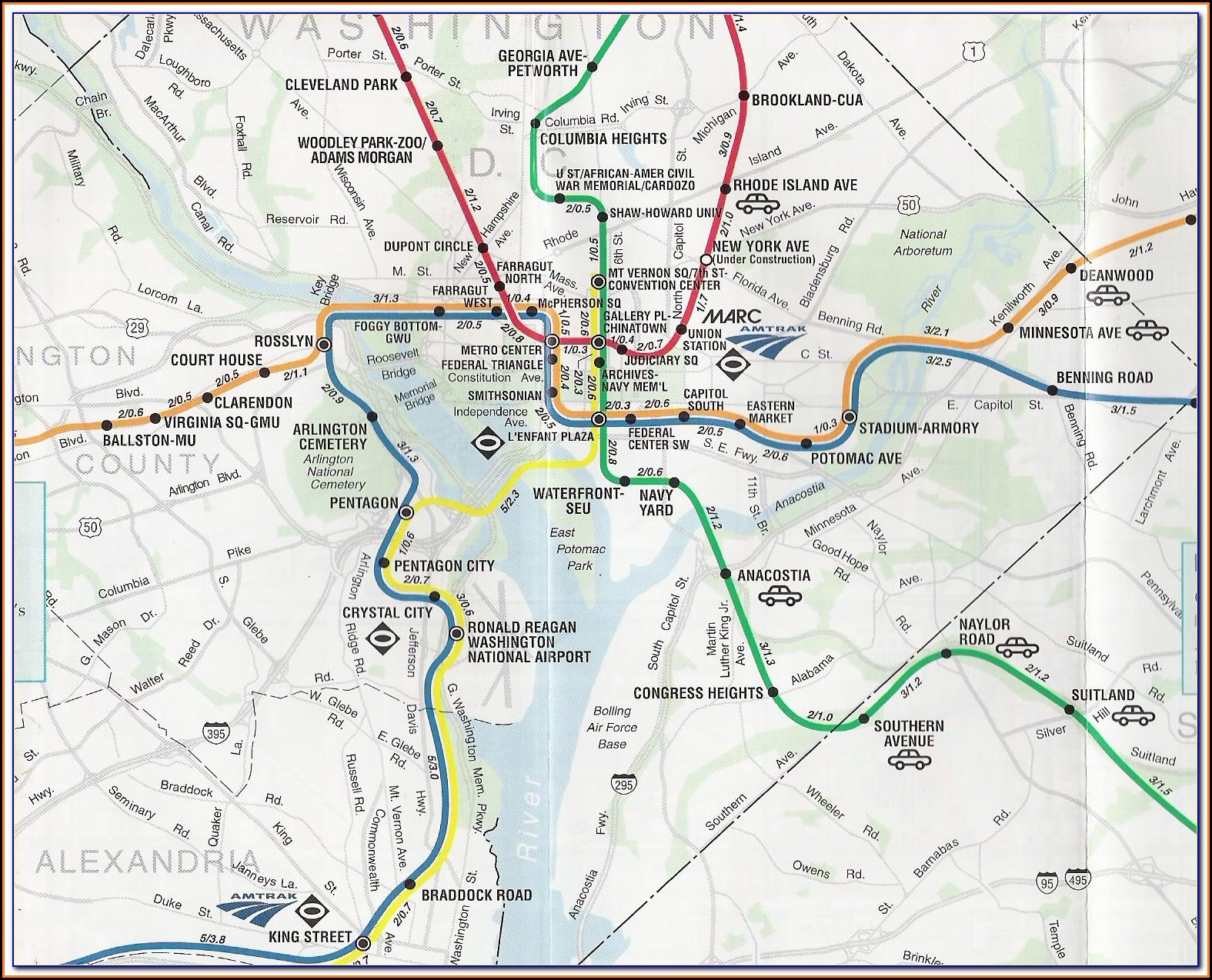 Street Map Of Washington Dc With Metro Stops