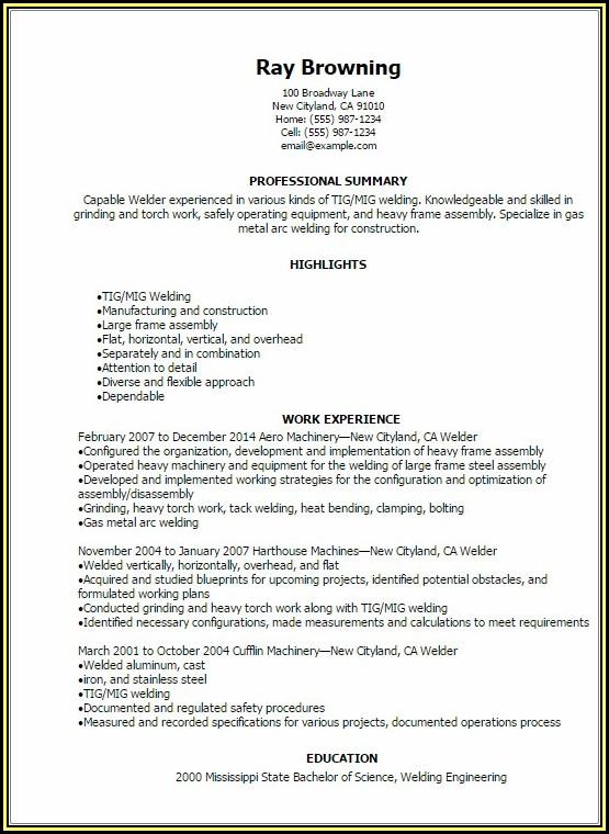 Tig Welding Resume Examples