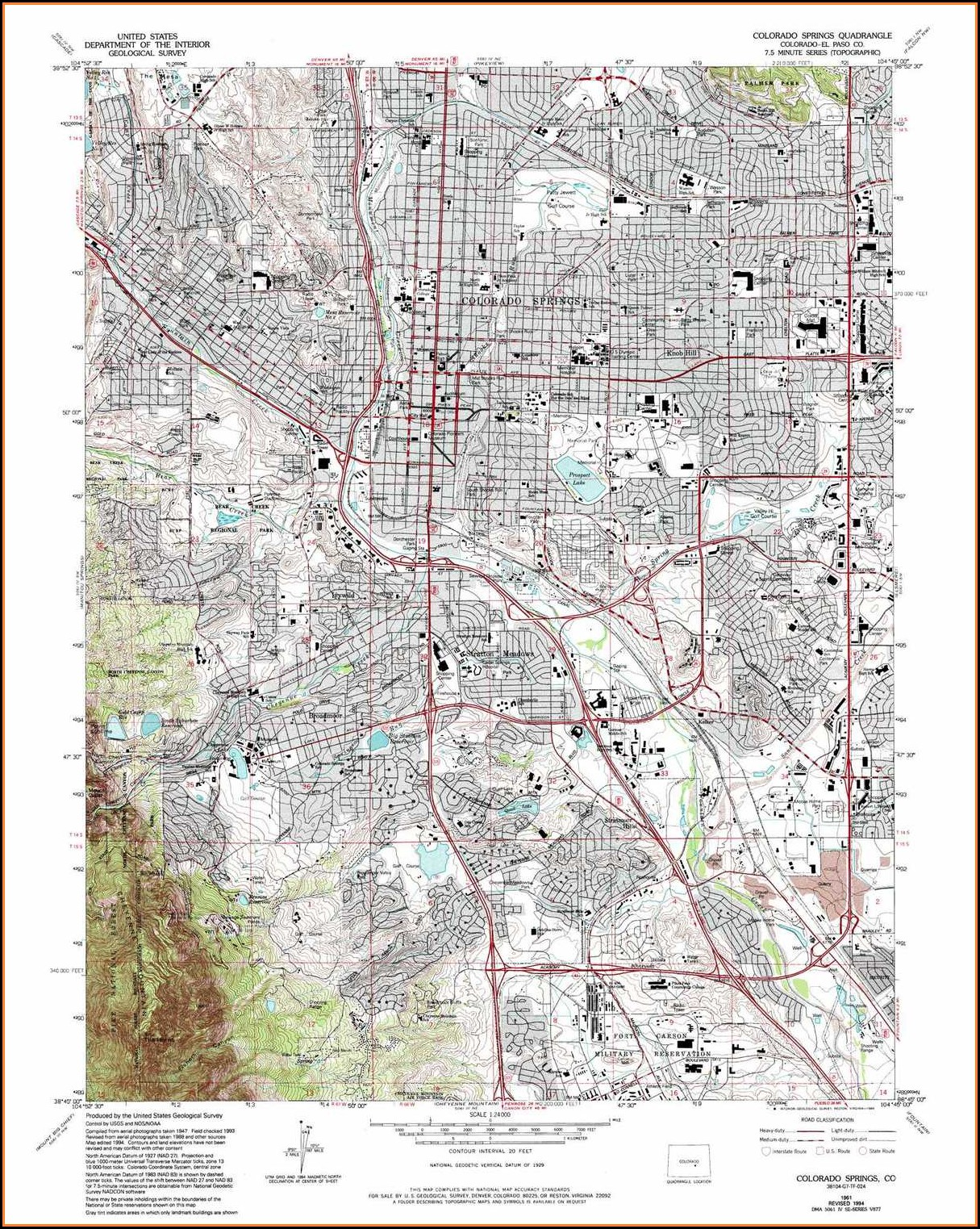 Topographic Map Colorado Springs Co