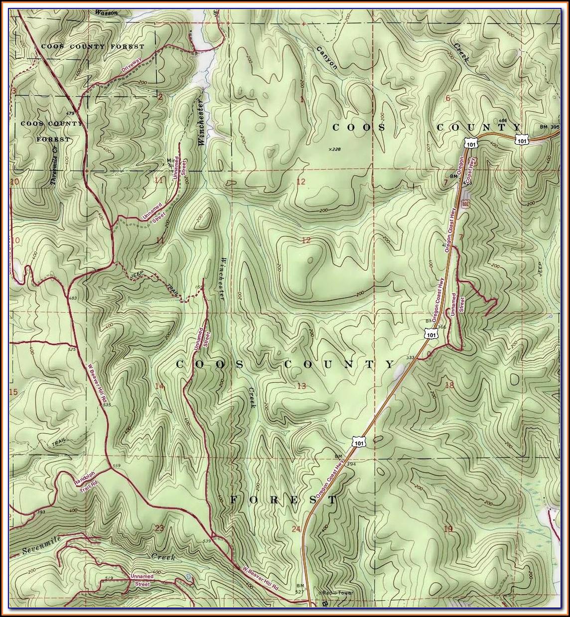 Topographic Map Of Oregon Usgs
