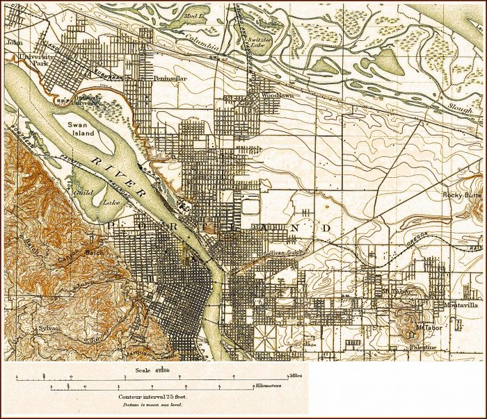 Topographic Map Of Portland Oregon