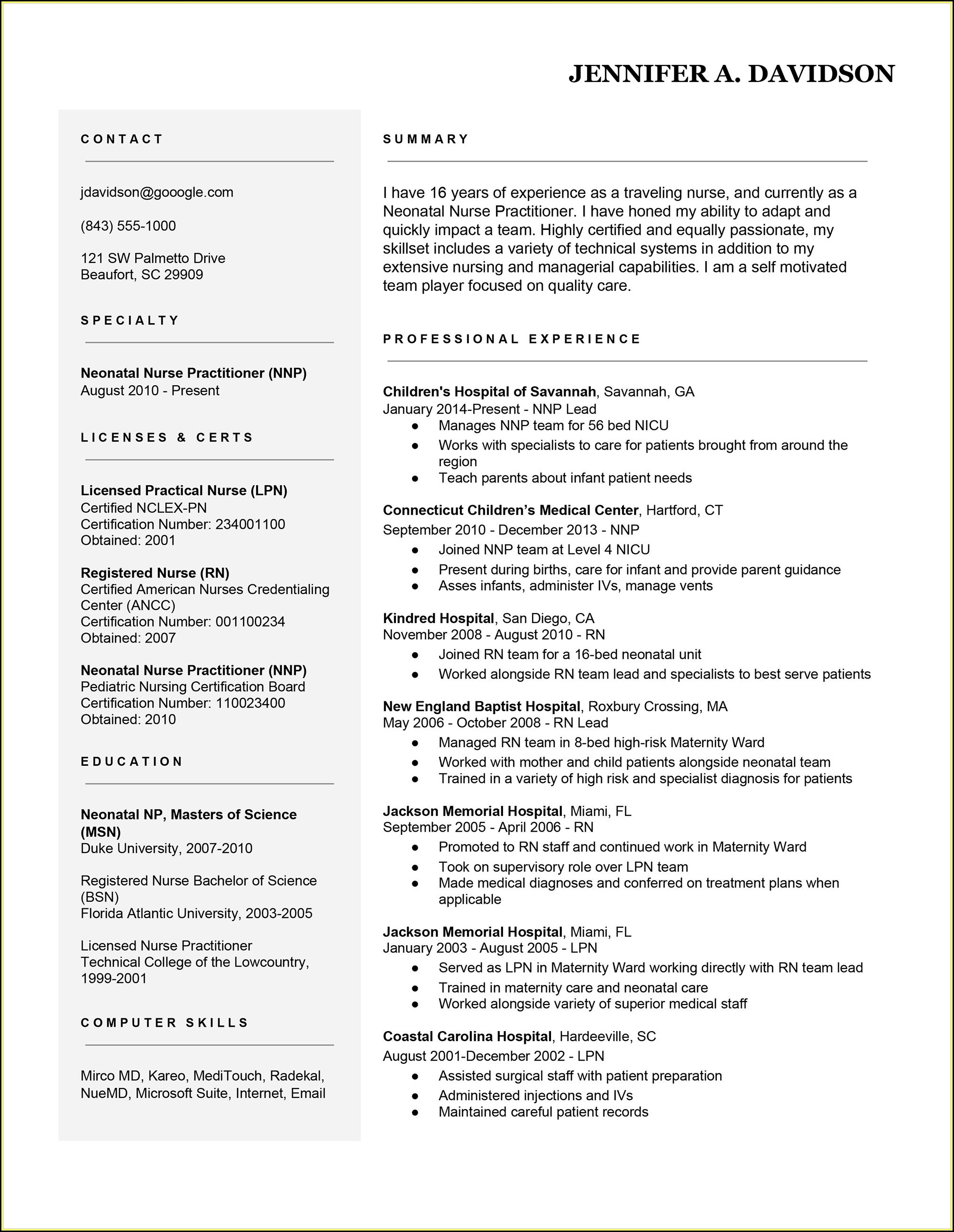 Travel Nurse Resume Builder