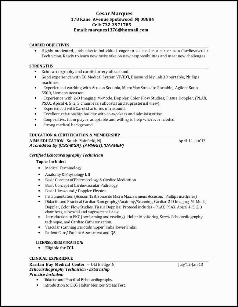 Ultrasound Tech Resume Template
