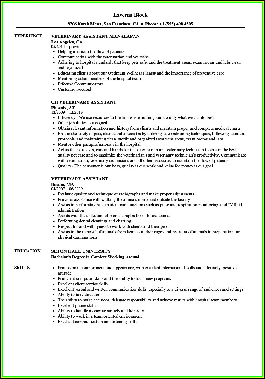 Vet Tech Resume Templates