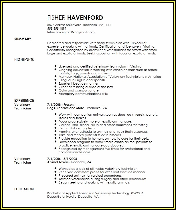 Veterinary Technician Resume Templates