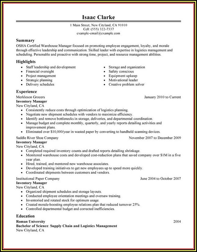 Warehouse Management Cv Sample