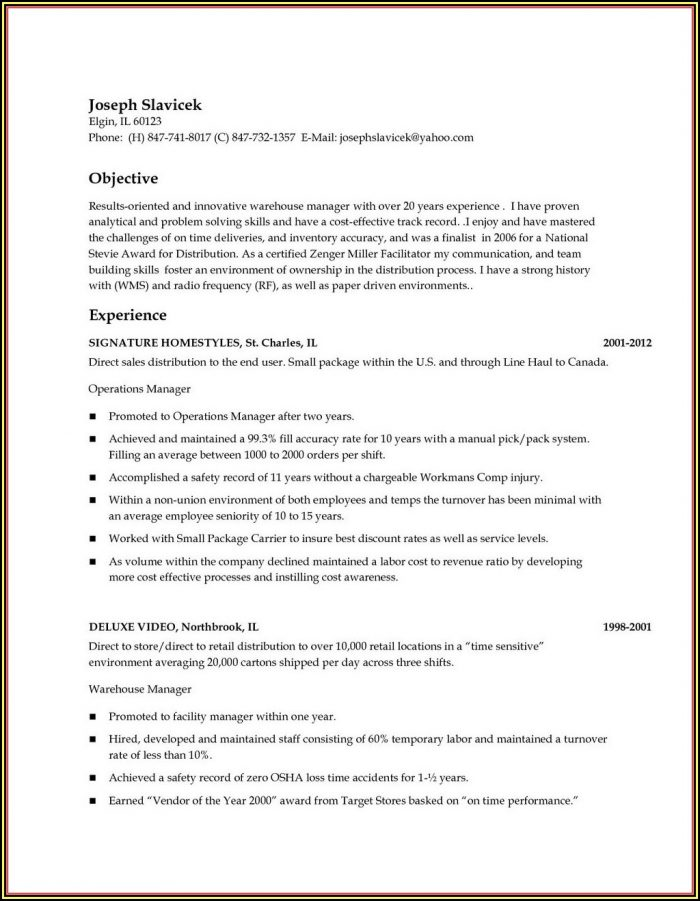 Warehouse Supervisor Cv Sample Uk