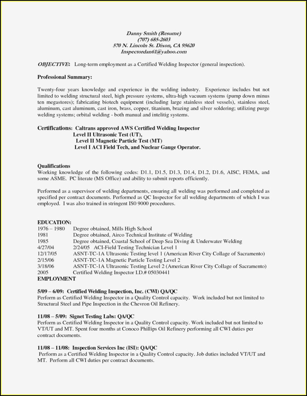 Welding Resume Objective Examples