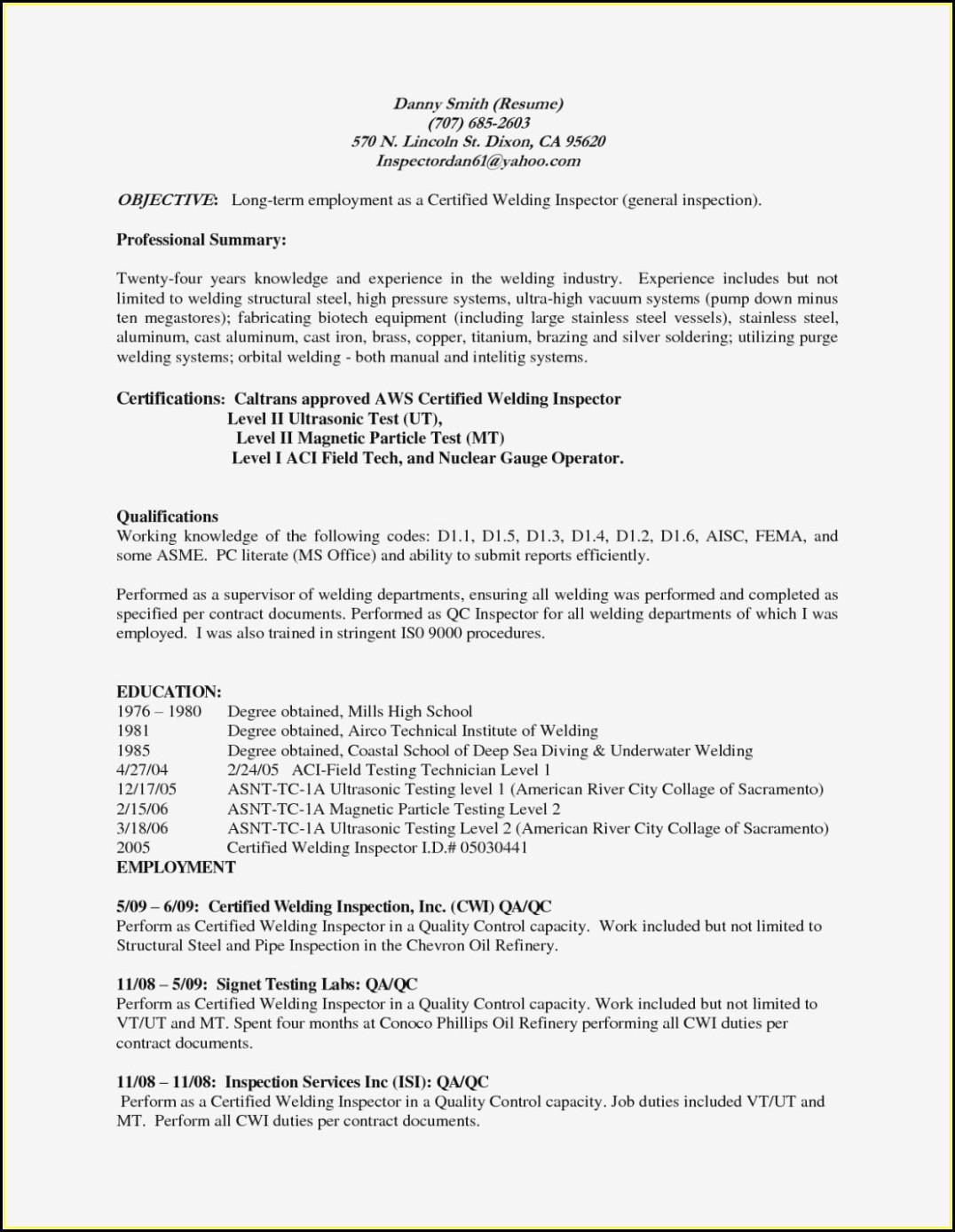 Welding Resume Objective Examples