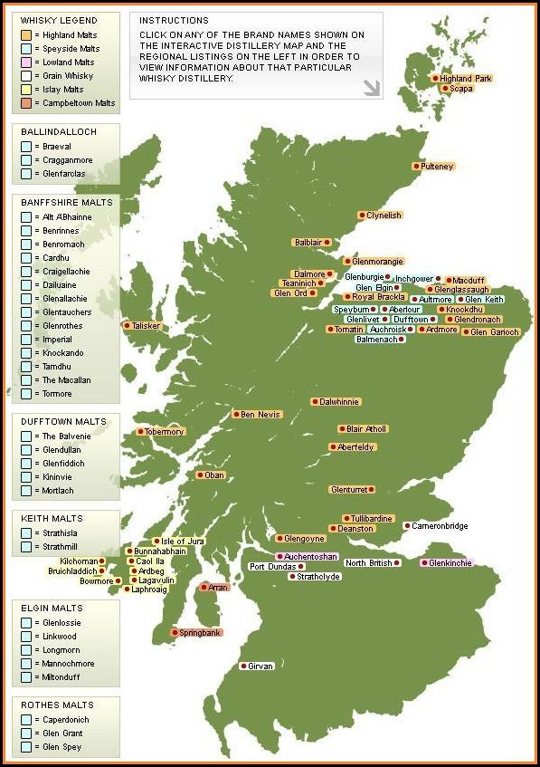 Whisky Distillery Scotland Map