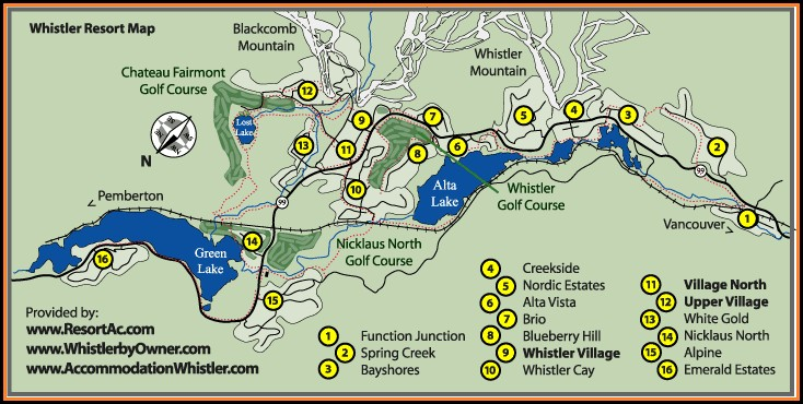 Whistler Blackcomb Accommodation Map