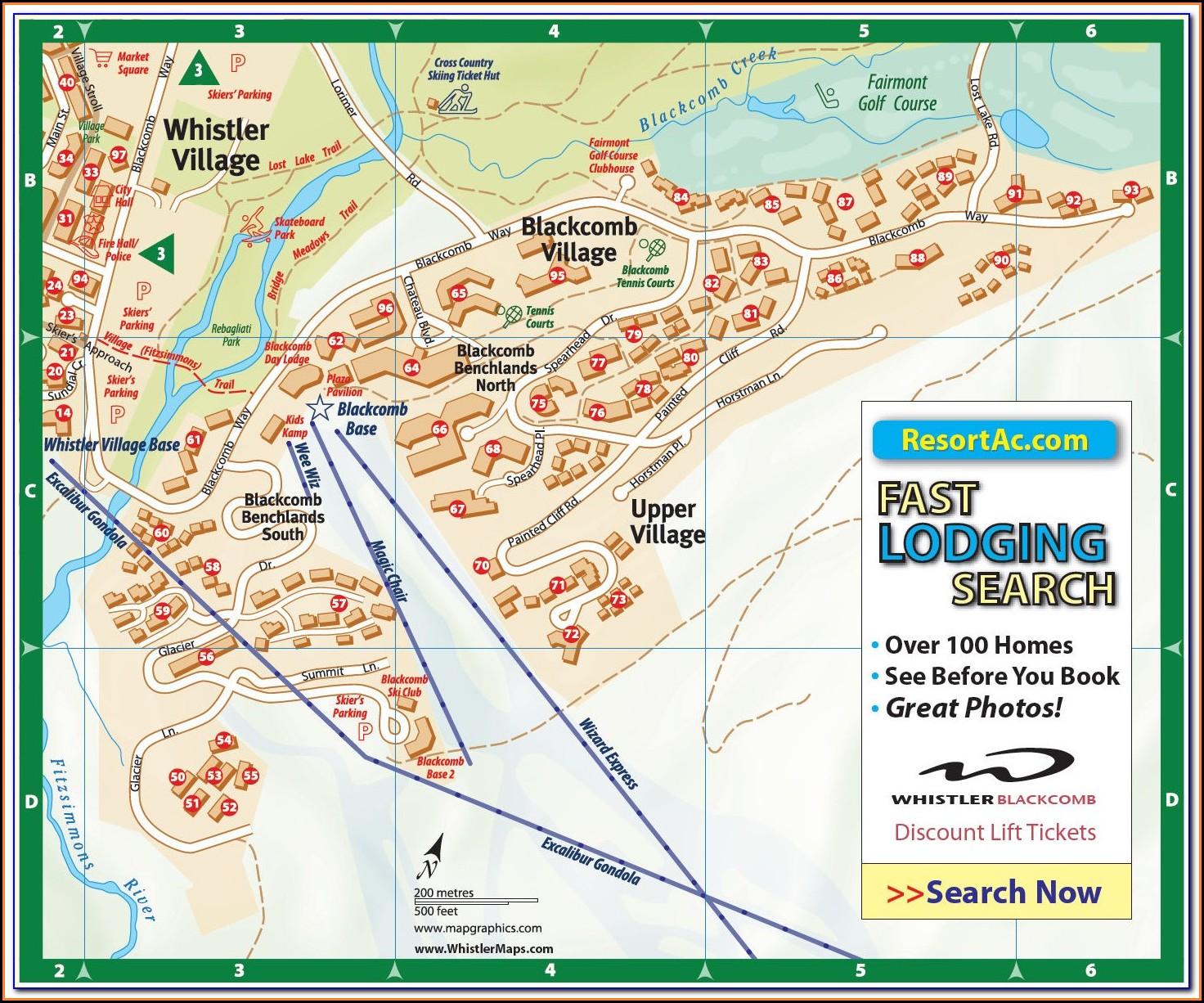 Whistler Blackcomb Lodging Map