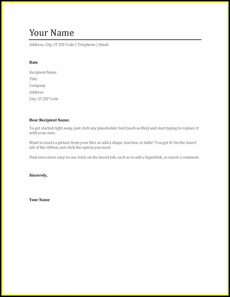 Word Templates Resume Cover Letter