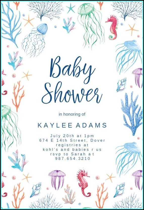 Free Mermaid Baby Shower Invitation Template