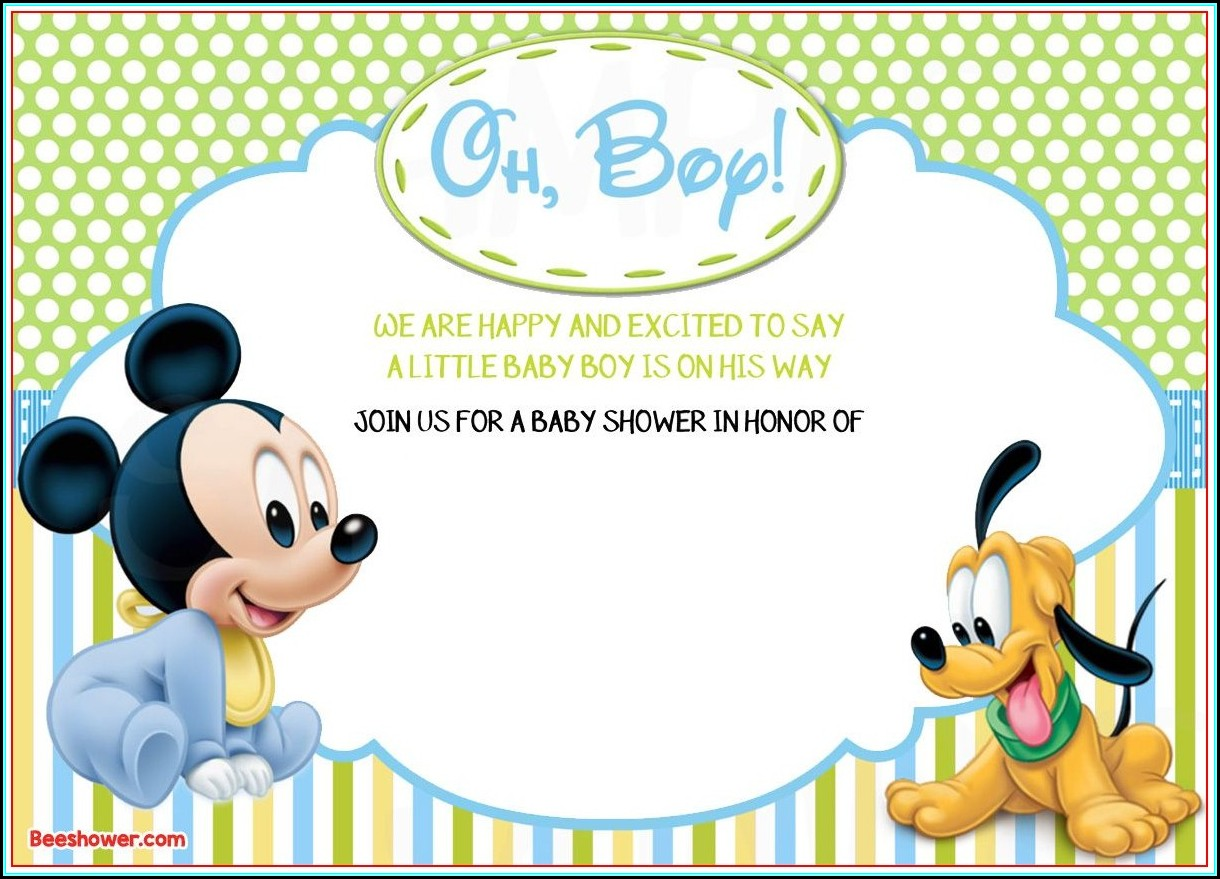 Free Mickey Mouse Baby Shower Invitation Templates
