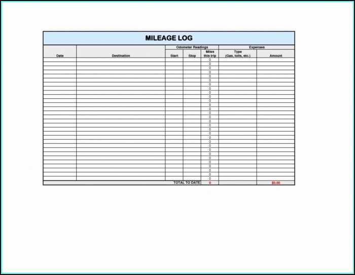 Free Mileage Log Template For Self Employed