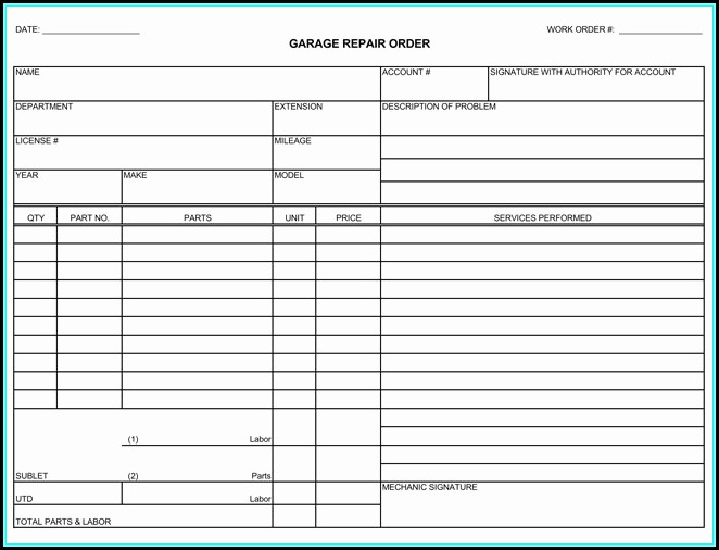 Free Printable Auto Repair Invoice Template
