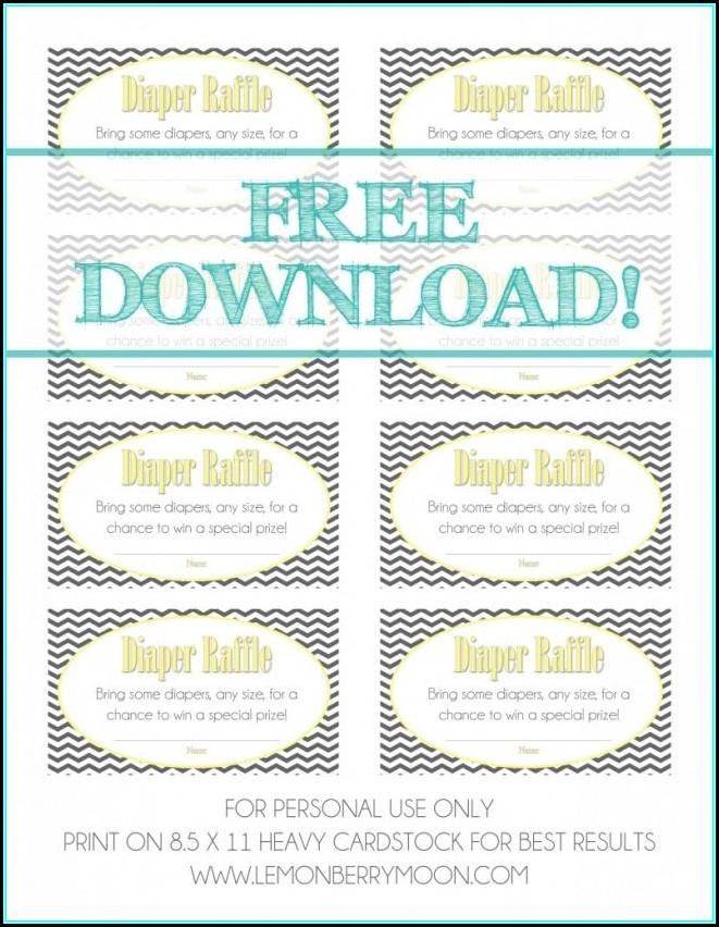 Free Printable Diaper Raffle Ticket Template Download