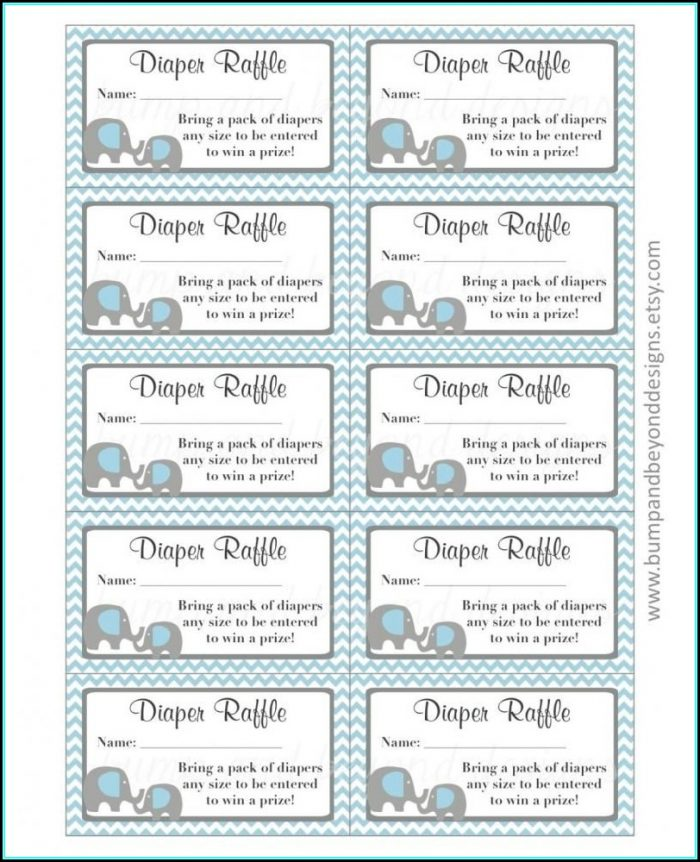 Free Printable Elephant Diaper Raffle Ticket Template