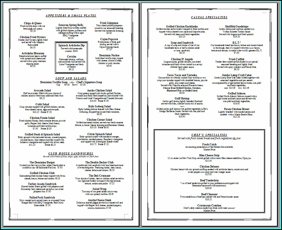 Free Printable Restaurant Menu Template