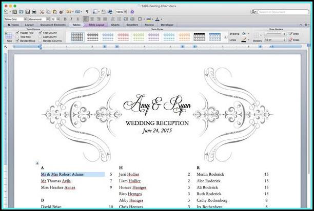 Free Printable Wedding Seating Chart Templates