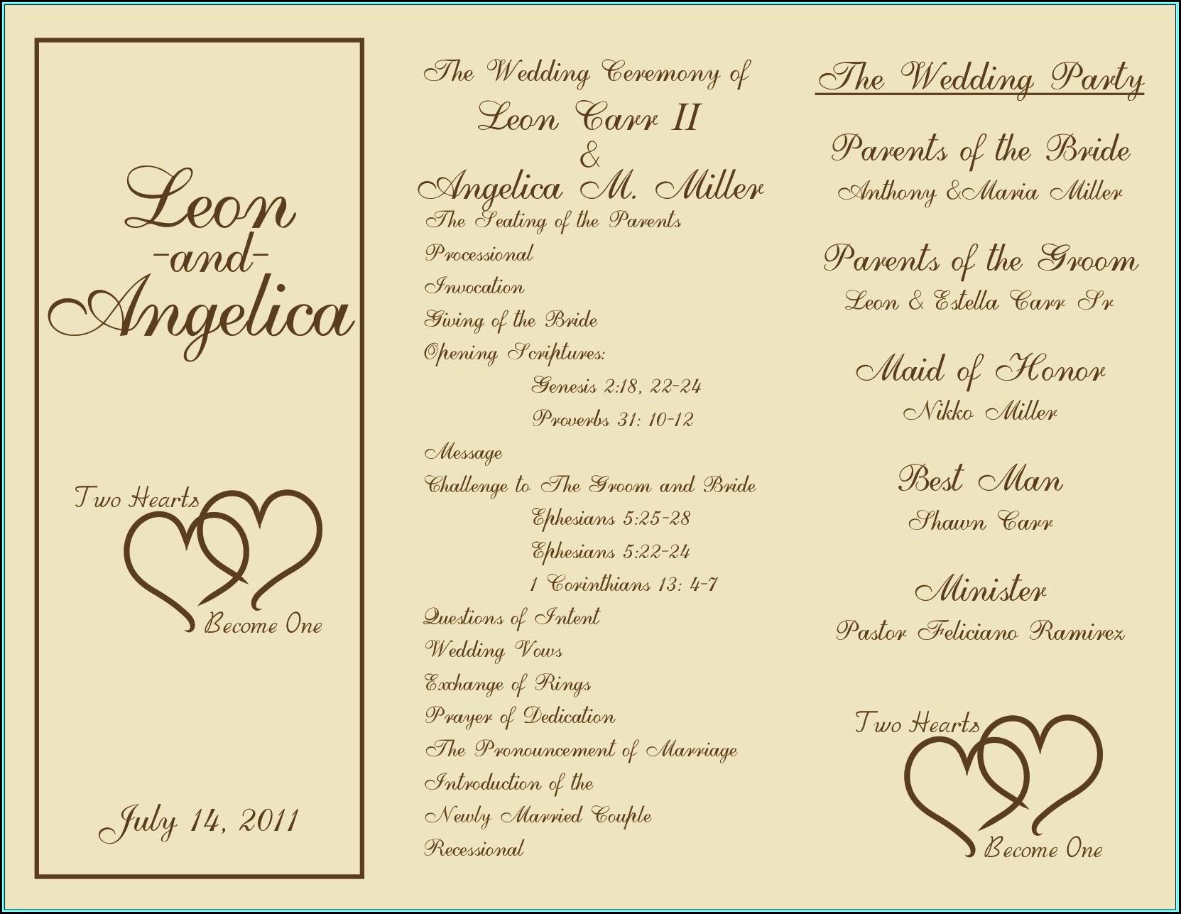 Free Sample Wedding Programs Templates