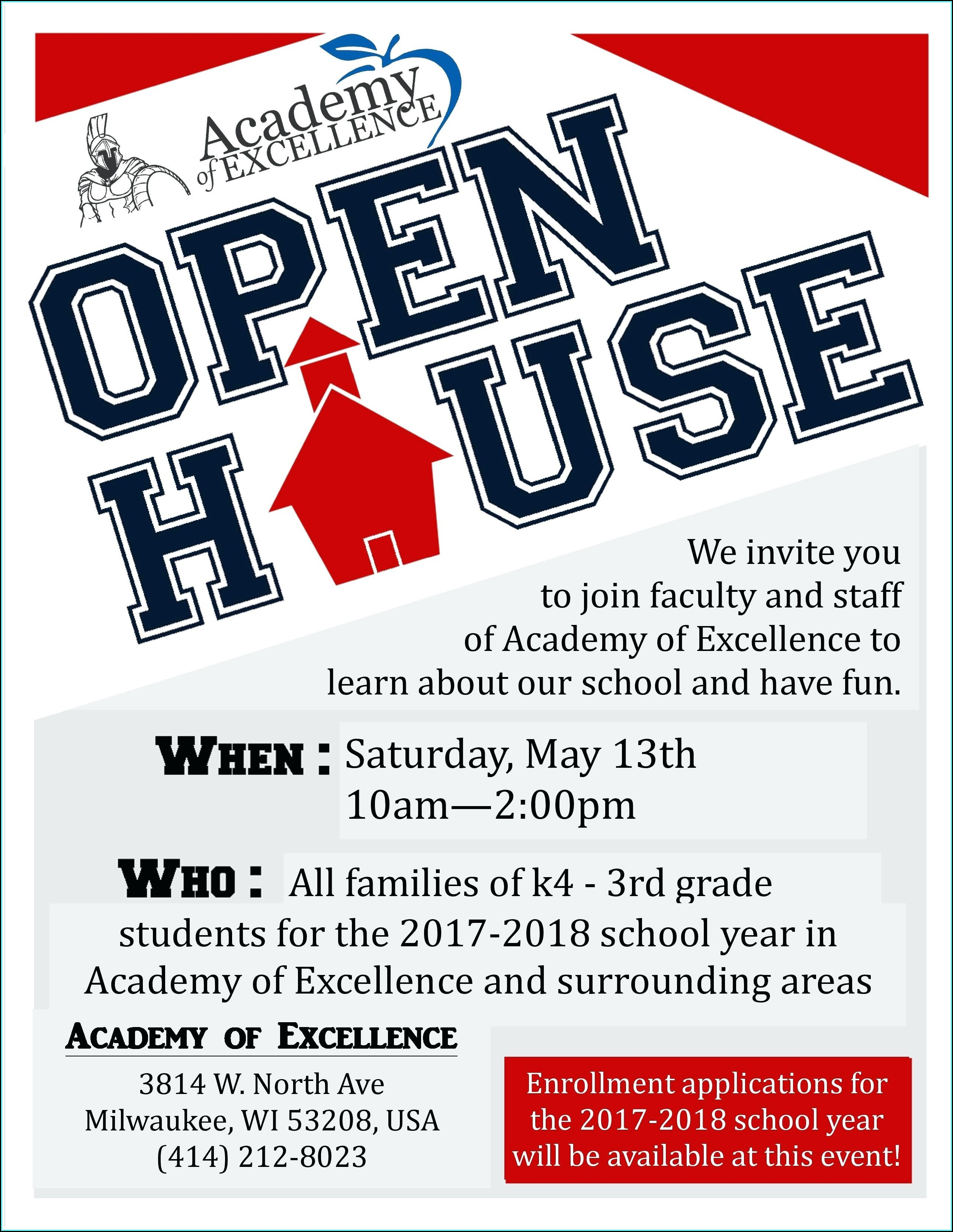 Free School Open House Flyer Template