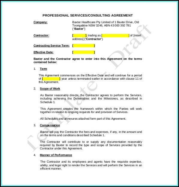 Free Service Agreement Template Australia