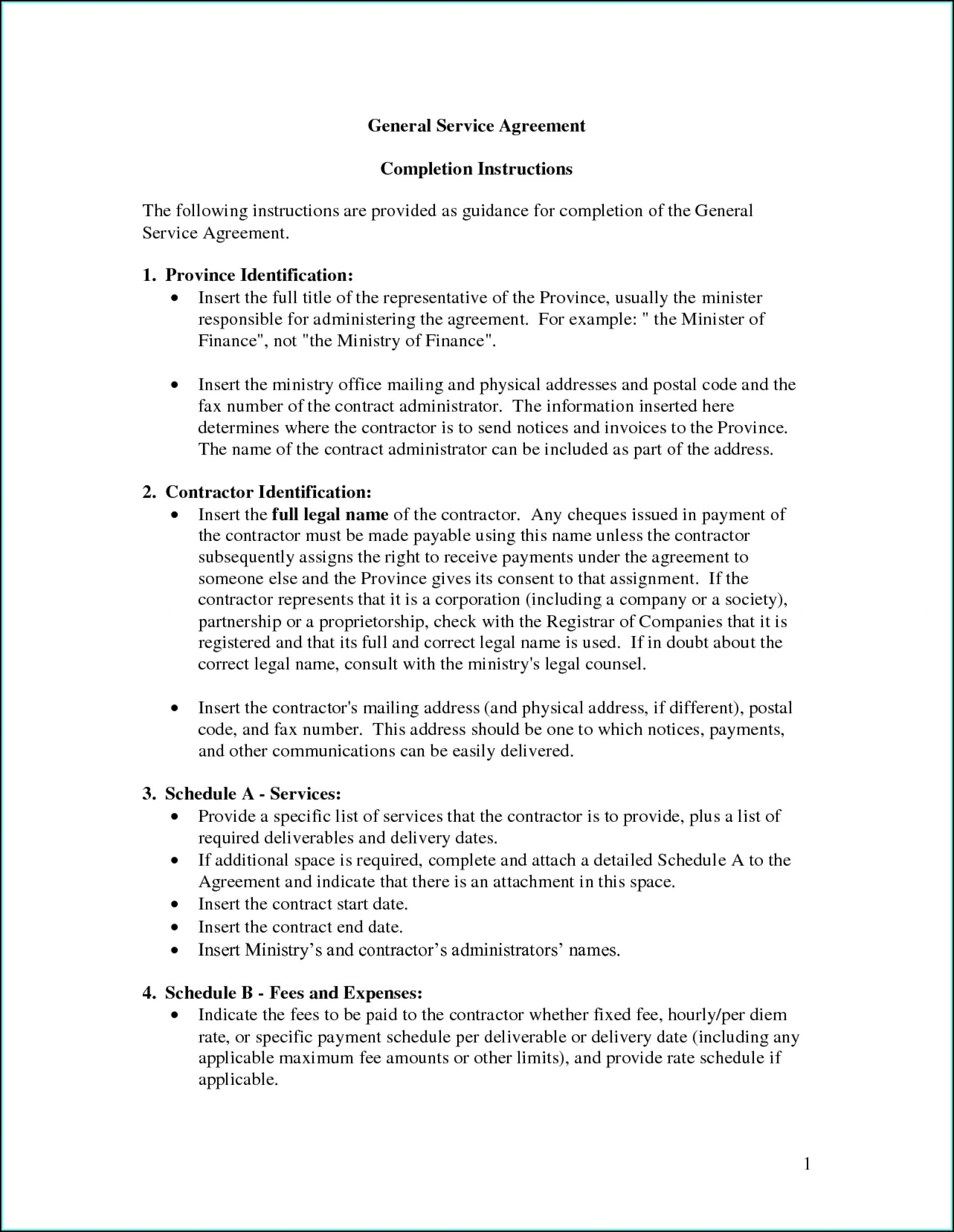 Free Service Agreement Template Doc