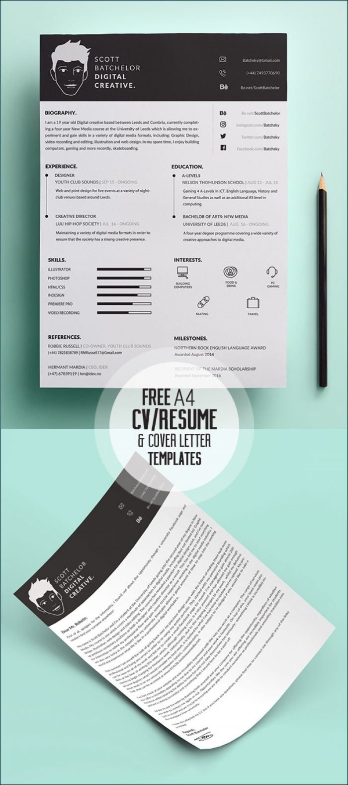 Free Stylish Resume Templates Psd