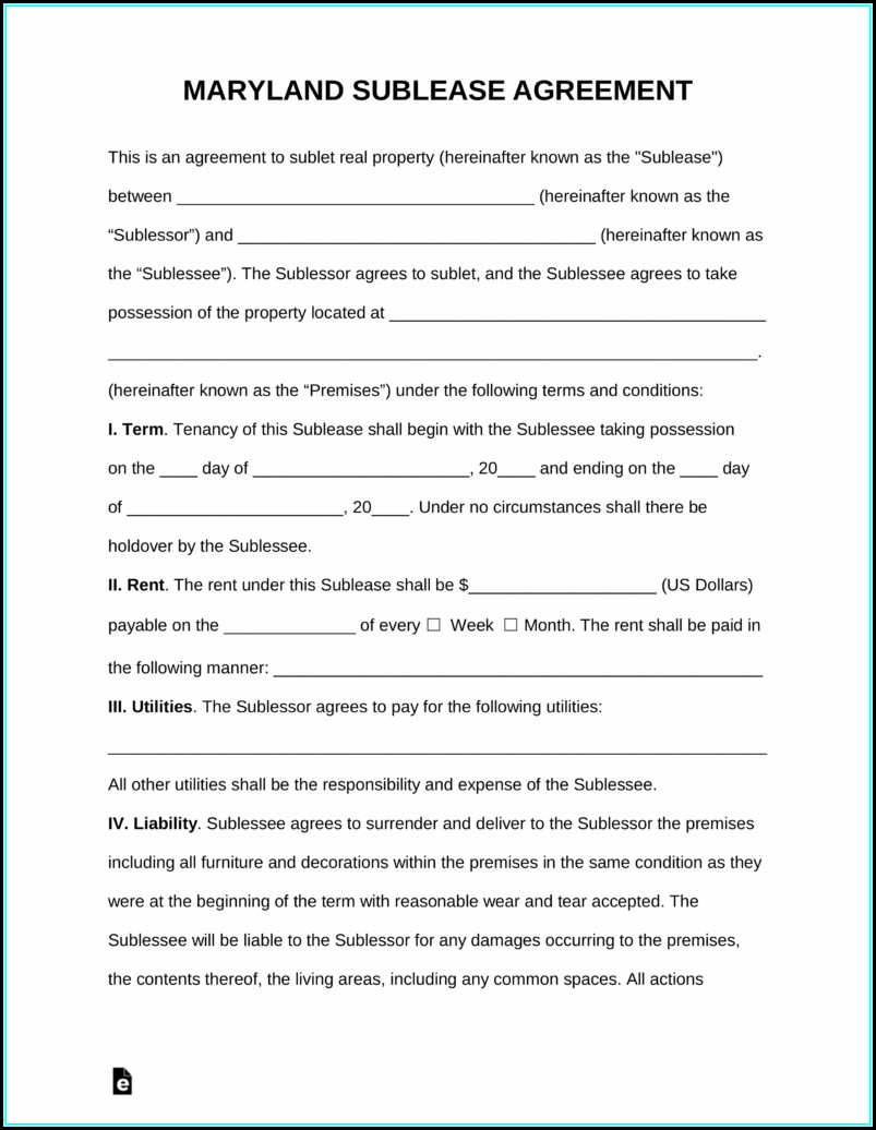 Free Sublease Agreement Template Pdf