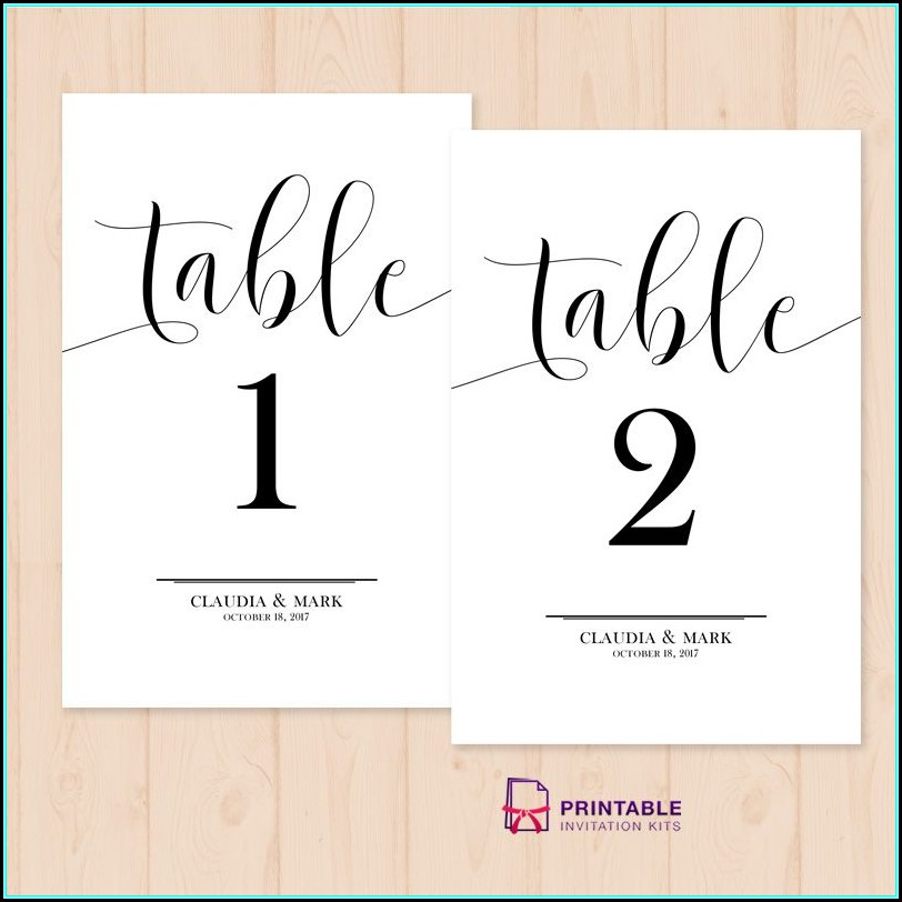 Free Table Numbers Template