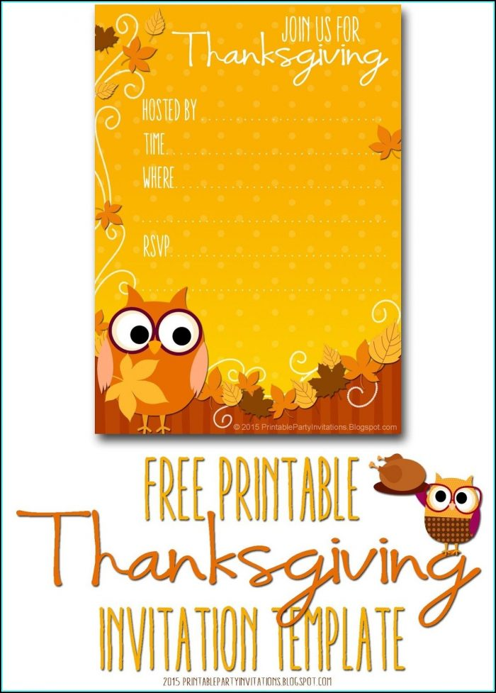 Free Thanksgiving Party Invitation Template