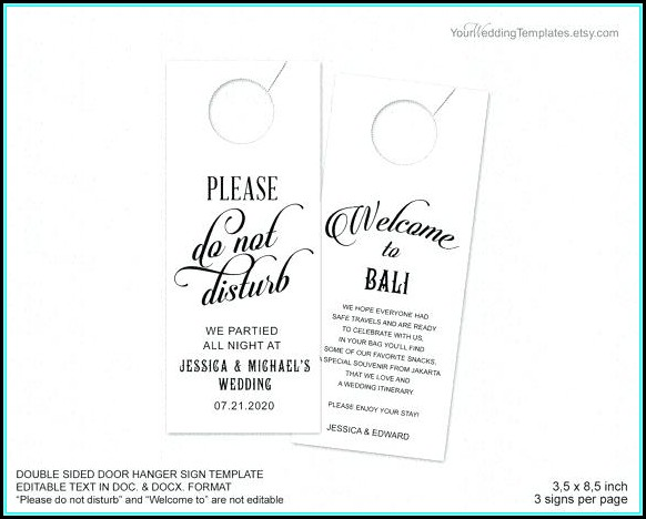 Free Wedding Door Hanger Template For Word